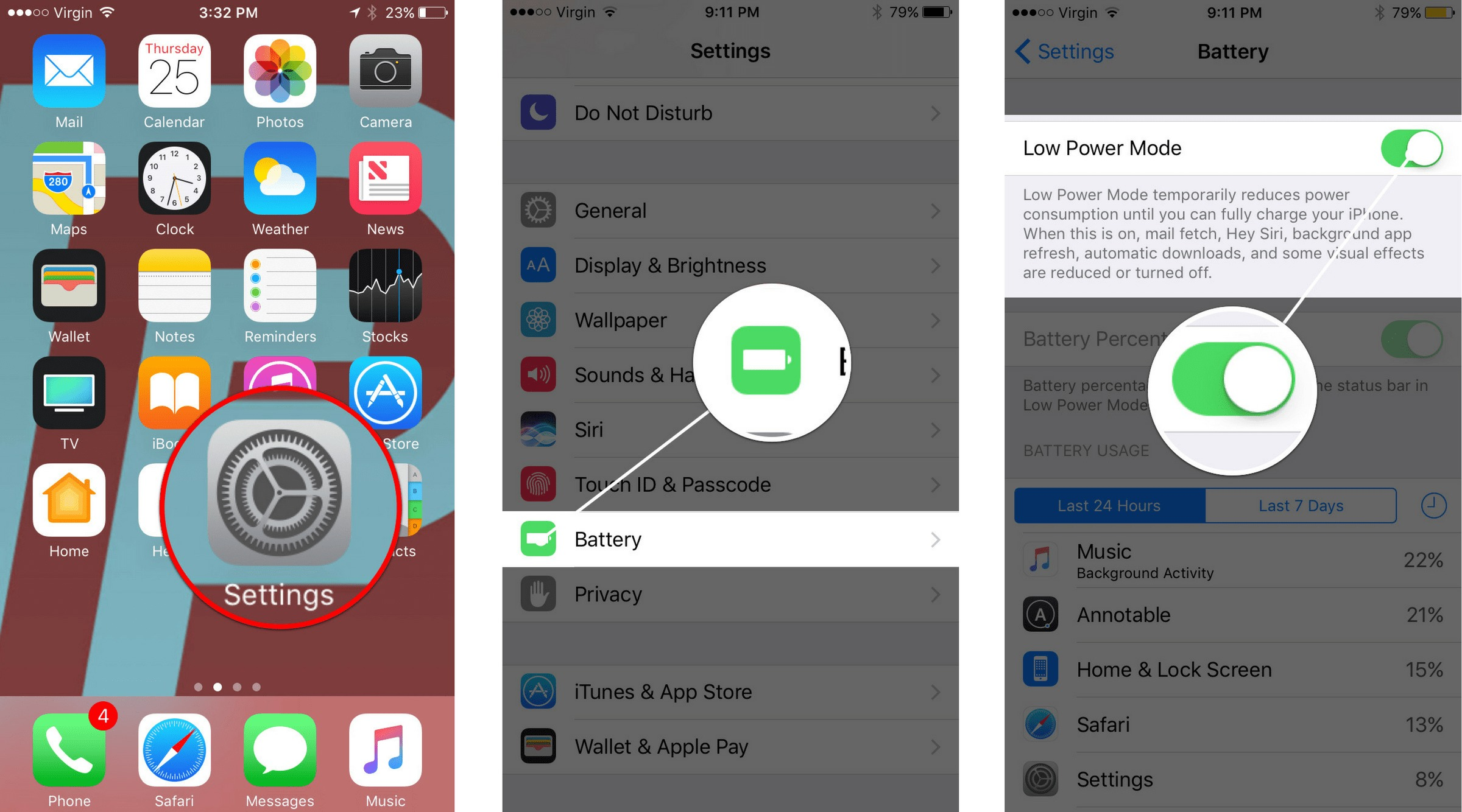how to turn on low power mode iphone 7 and 7 plus