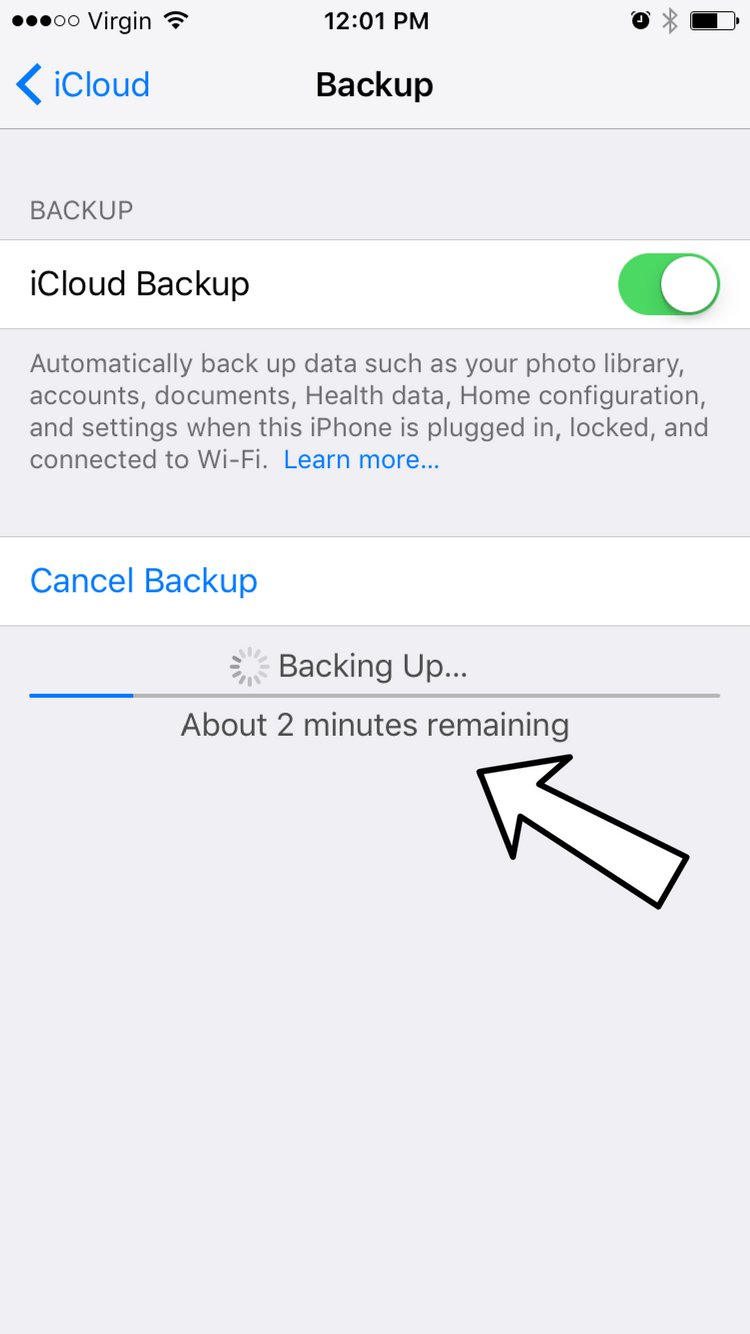 Estimated time remaining iCloud backup