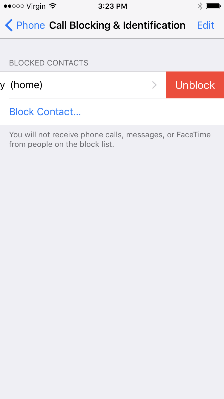 tap unblock to unblock number or contact