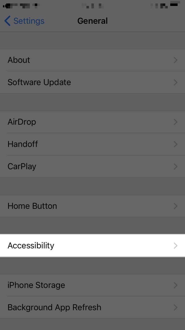 tap accessibility in iPhone settings app