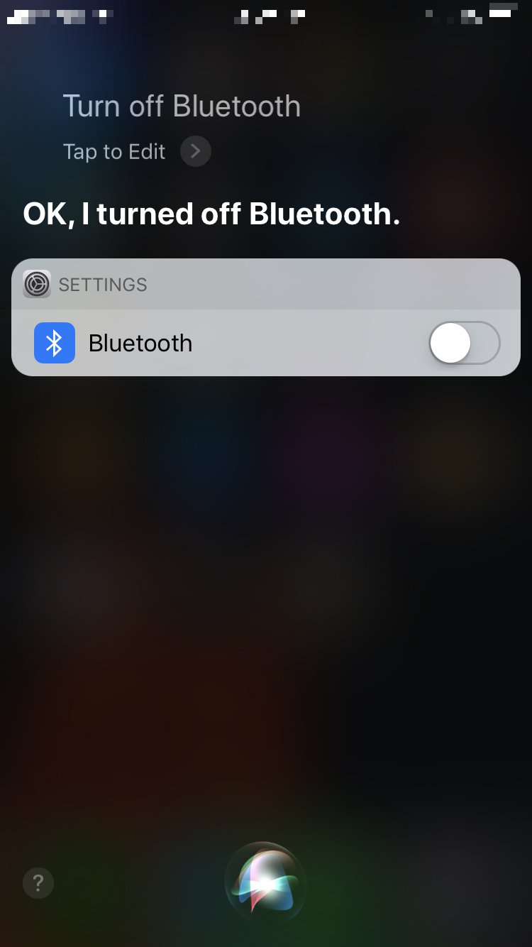 activate siri and turn off bluetooth