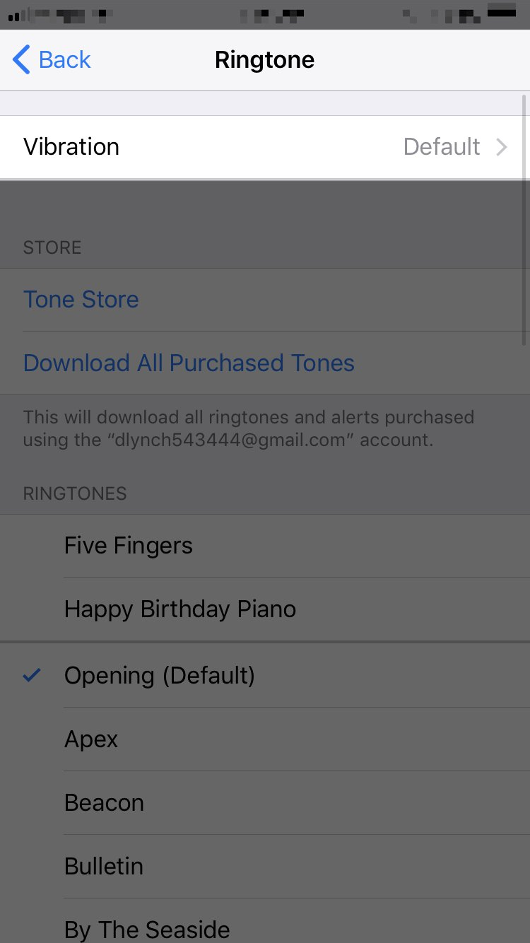 tap vibration in ringtone settings