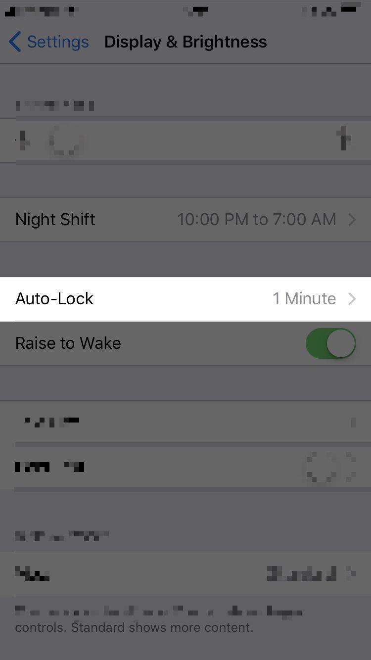 tap auto-lock in iphone settings app