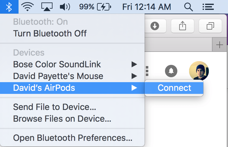 manually connect AirPods to bluetooth