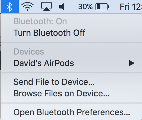 turn on bluetooth in toolbar mac