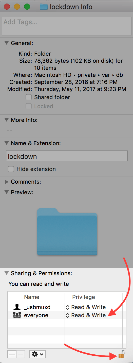 give admin access to lockdown folder