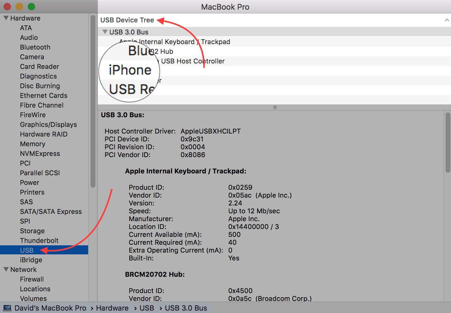 iphone under usb device tree