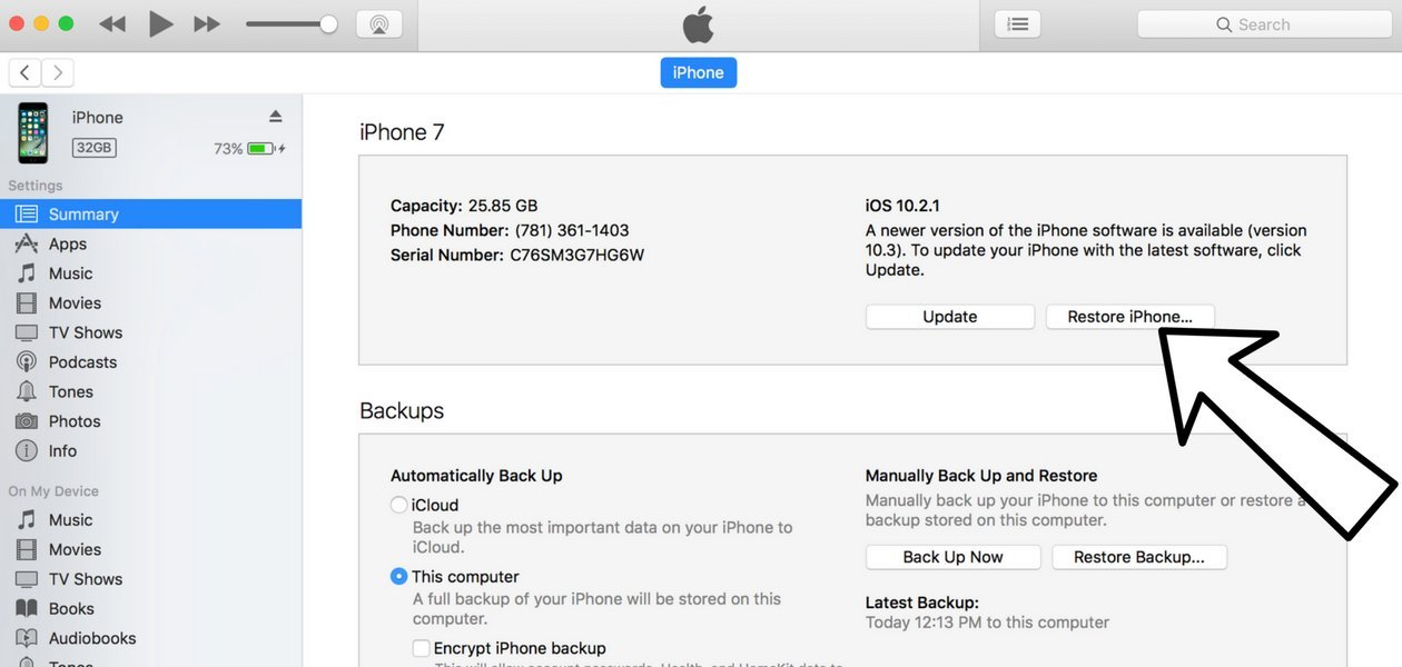 restore iphone... in itunes