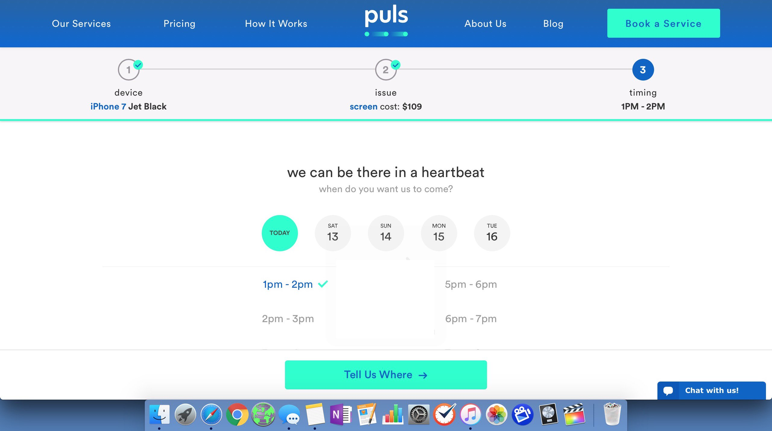 select time for puls repair