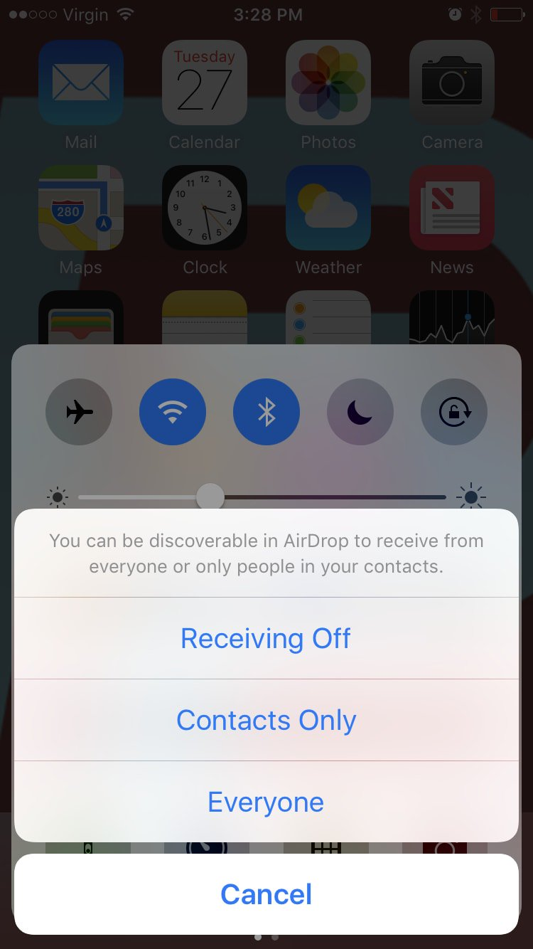 Select AirDrop Discoverable