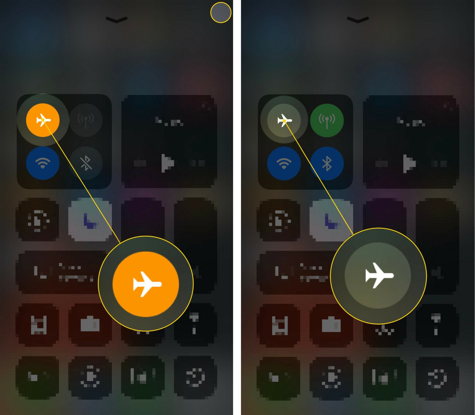 turn off airplane mode in ios 11 control center