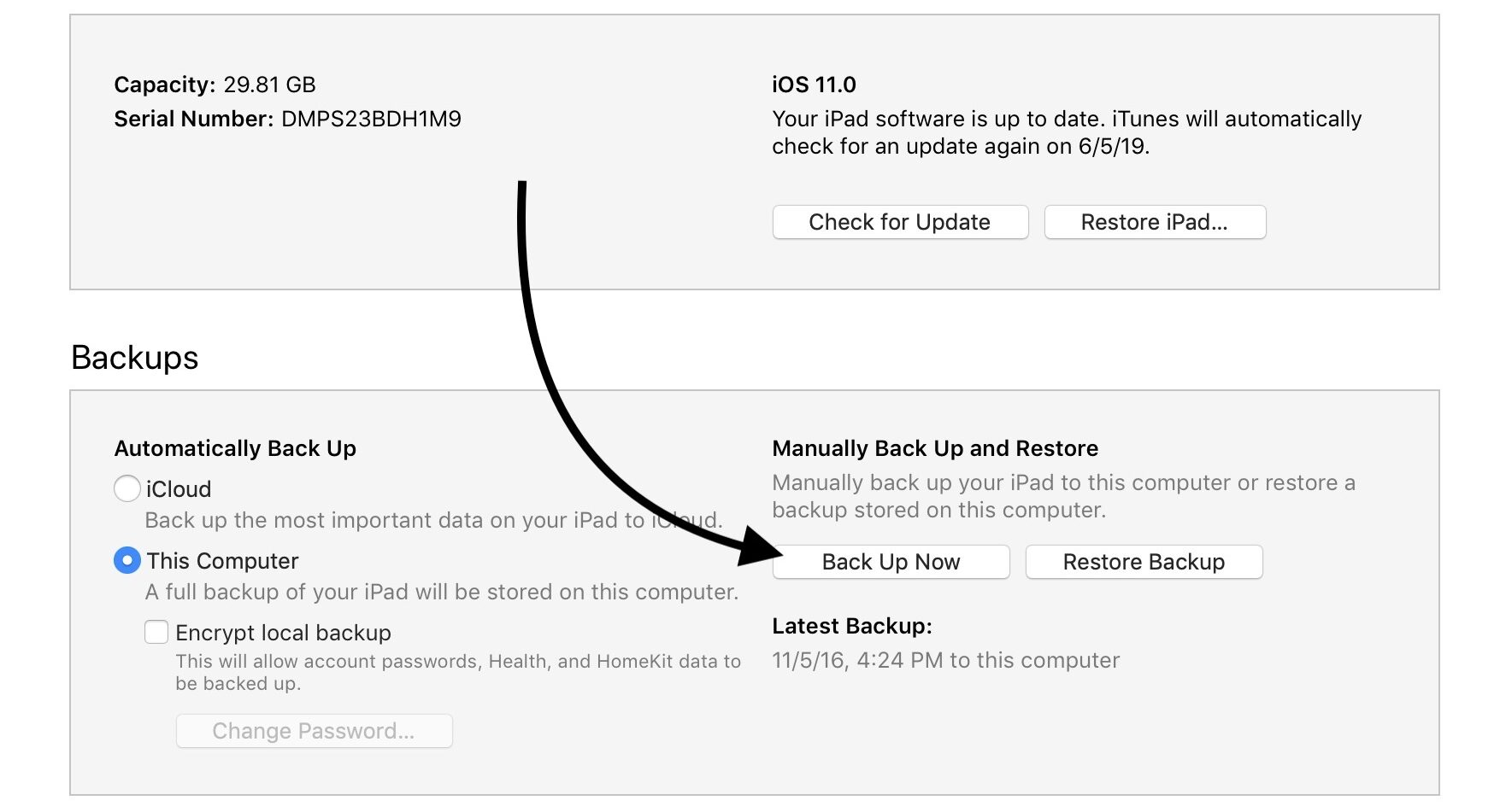 click back up now in itunes