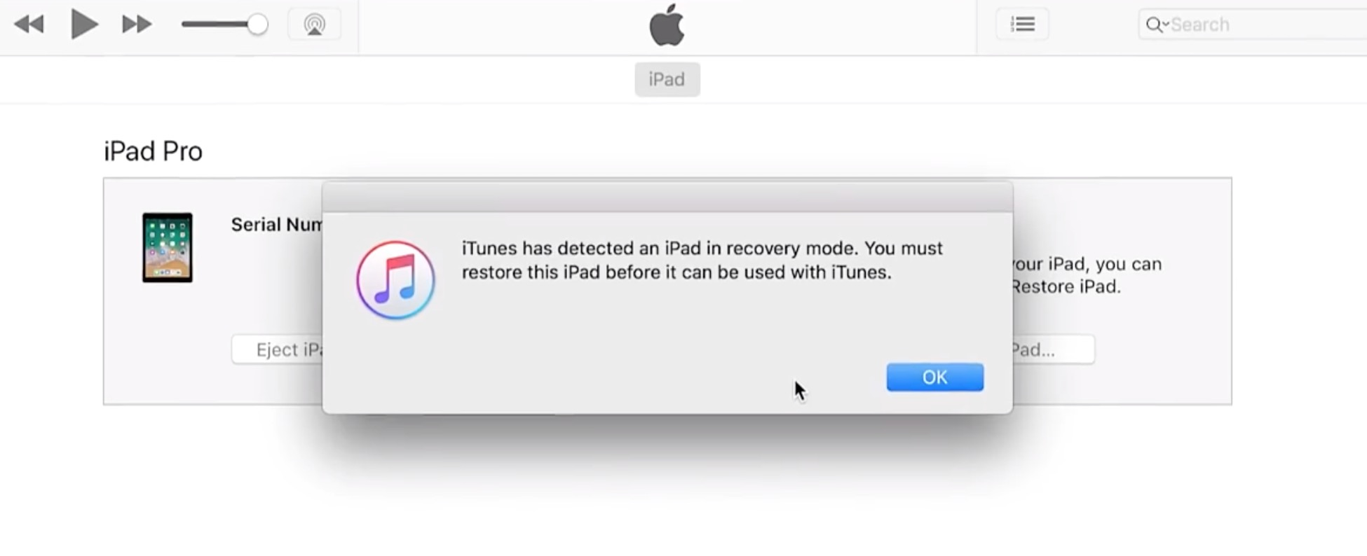 itunes has detected an ipad