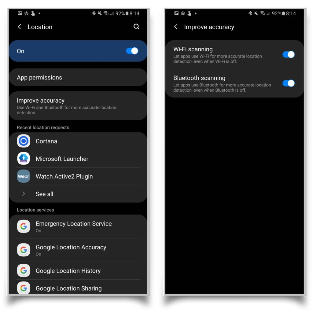 A pair of screenshots showing you how to turn off Wi-Fi scanning in the improve accuracy settings.