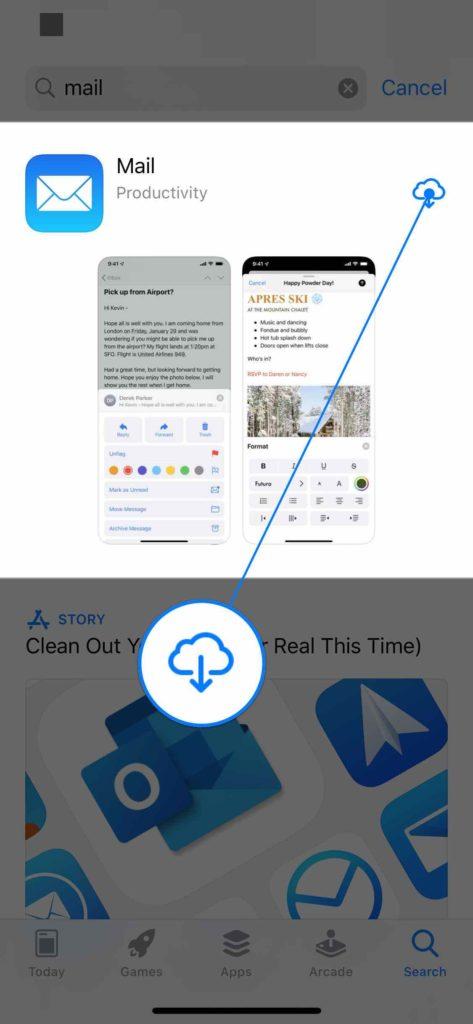 reinstall mail app