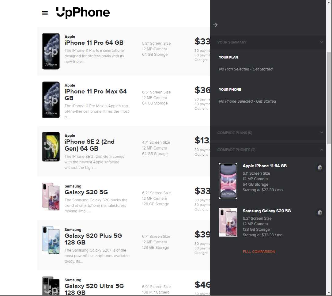 The comparison pane shows you basic differences between the devices that you've chosen.