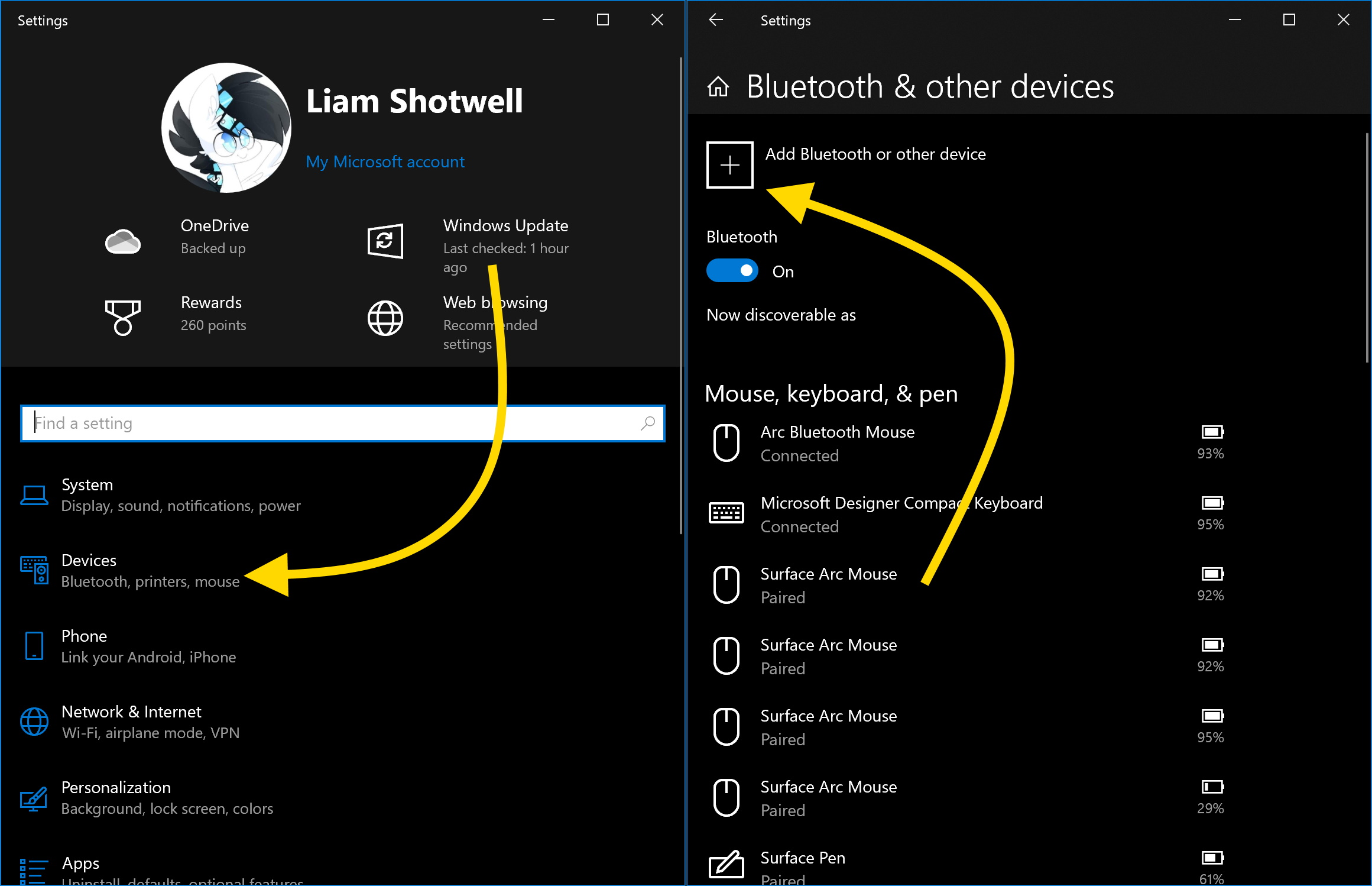 Open Windows Bluetooth Settings