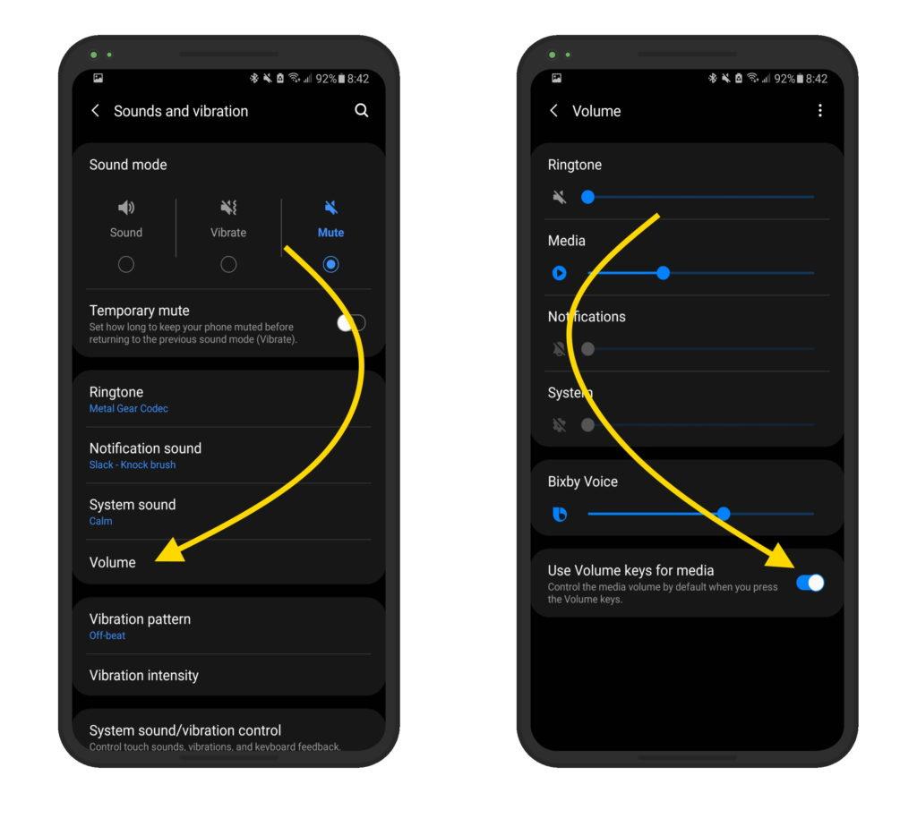 Use Volume keys for media Samsung
