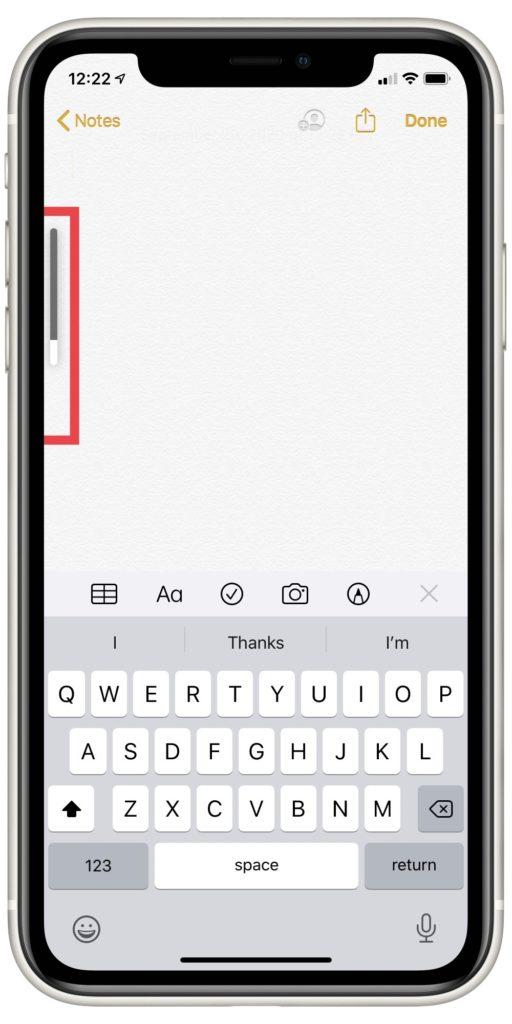 barre de volume sur iPhone