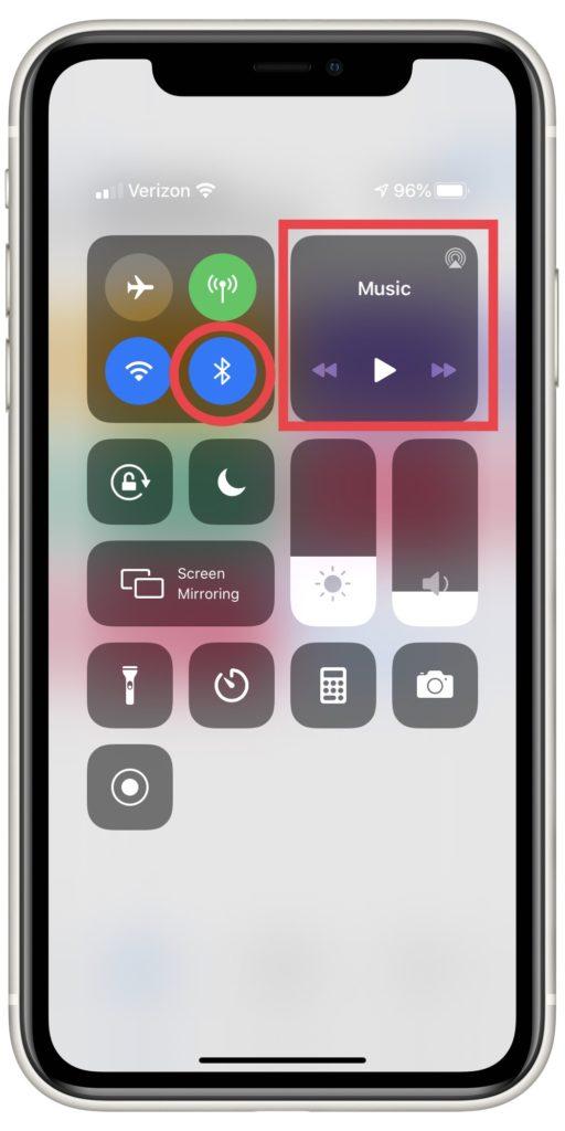 Bluetooth et AirPlay dans le centre de contrôle